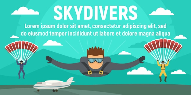 Skydivers concept banner template, flat style Premium Vector