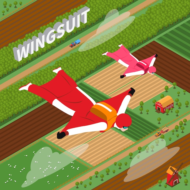 Skydivers in wing suit isometric illustration Free Vector