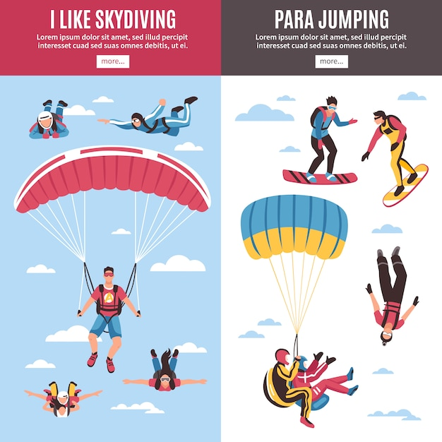 Skydiving banners set Free Vector
