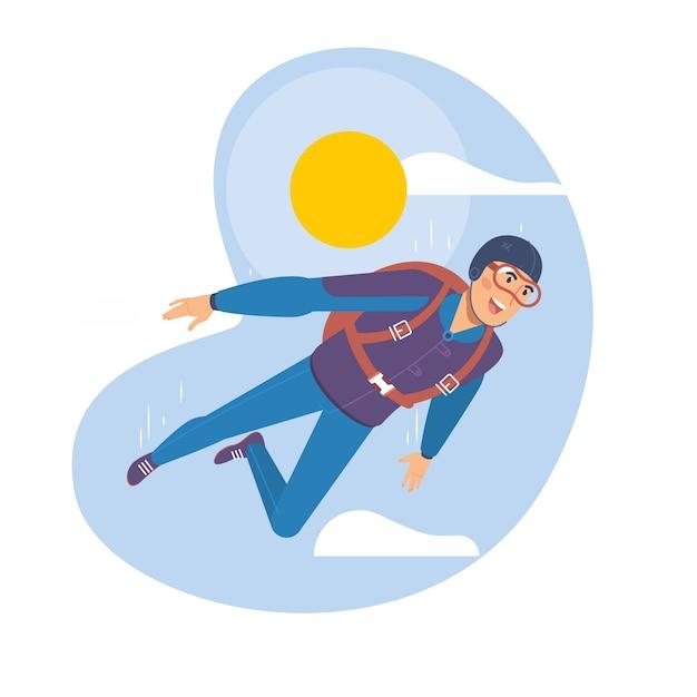 Skydiving man. parachuting sport. Premium Vector