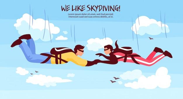 Иллюстрация команды прыжков с парашютом Бесплатные векторы