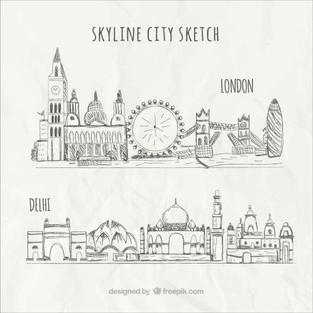 Skyline city sketch Free Vector