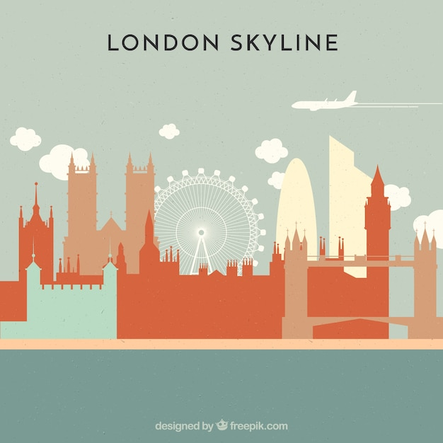 Skyline of london in flat style Free Vector