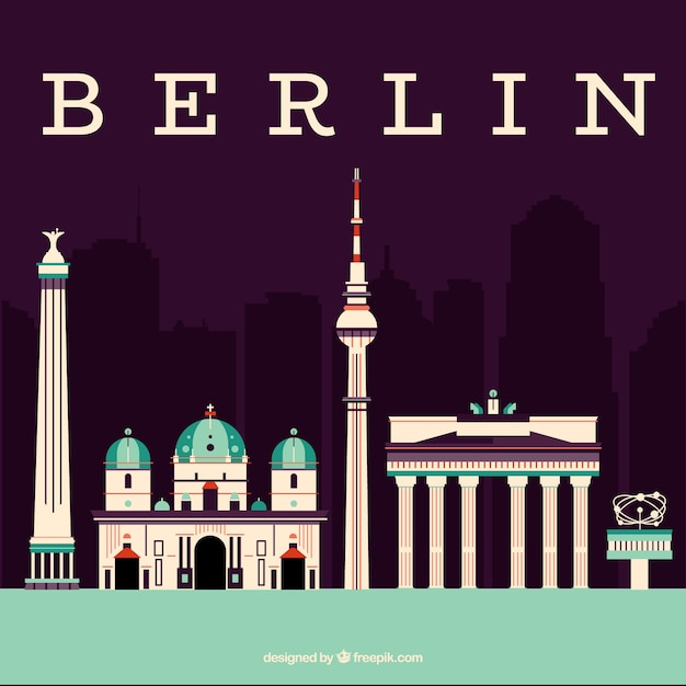 Skyline of the monuments of berlin Free Vector