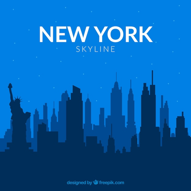 Skyline of new york in blue tones Free Vector