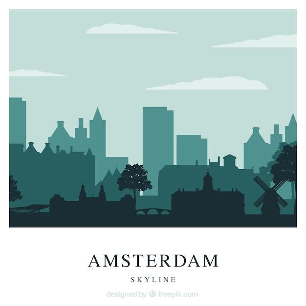 Skyline of amsterdam in green tones Free Vector
