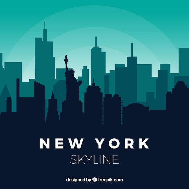Skyline of new york in green tones Free Vector