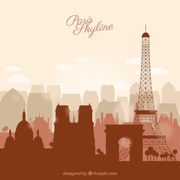 Skyline of paris в плоском стиле Бесплатные векторы