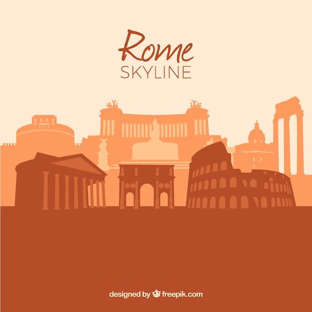 Skyline of the rome в теплых тонах Бесплатные векторы