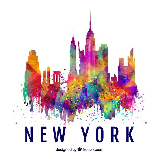 Siluetta dell'orizzonte di new york city con i colori Vettore gratuito