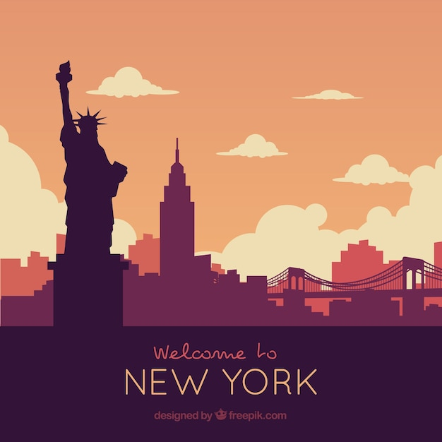 Skyline silhouette of new york city Free Vector