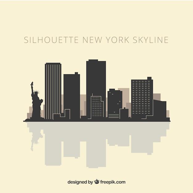 Skyline silhouette of new york Free Vector