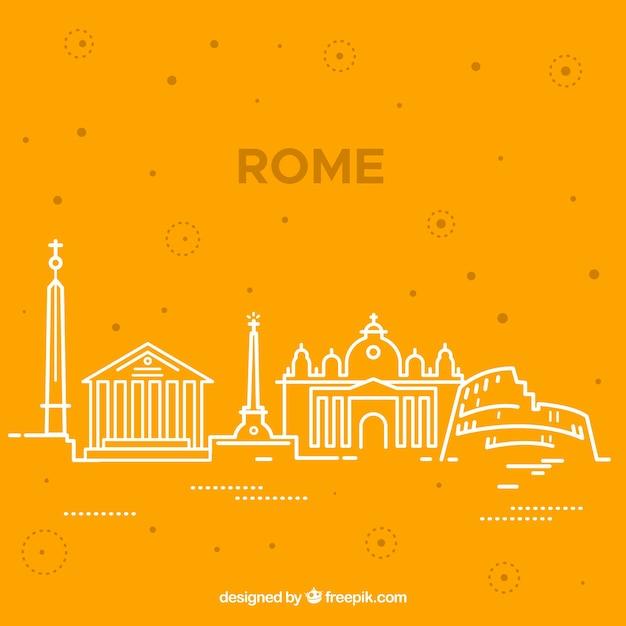 Skyline силуэт города рим в монолинии Бесплатные векторы