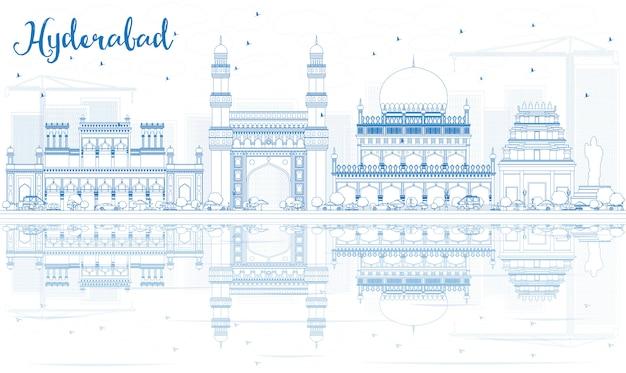 Наброски хайдарабад skyline с синими достопримечательностями и отражениями. Premium векторы