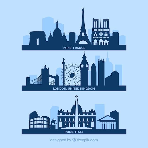 Города skyline европу Бесплатные векторы