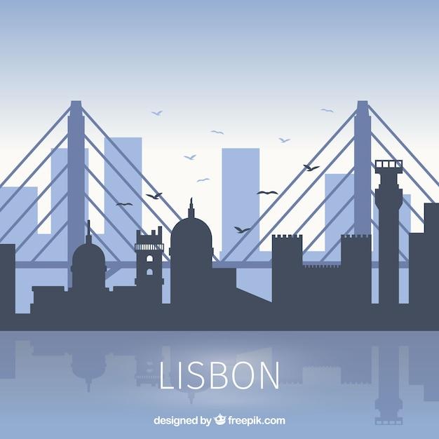 Skyline из лиссабона в плоском стиле Бесплатные векторы