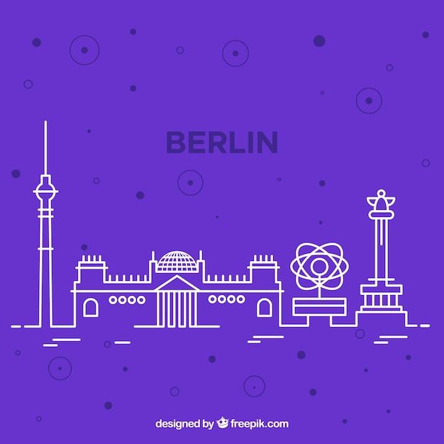 Skyline силуэт города берлина в монолине Бесплатные векторы