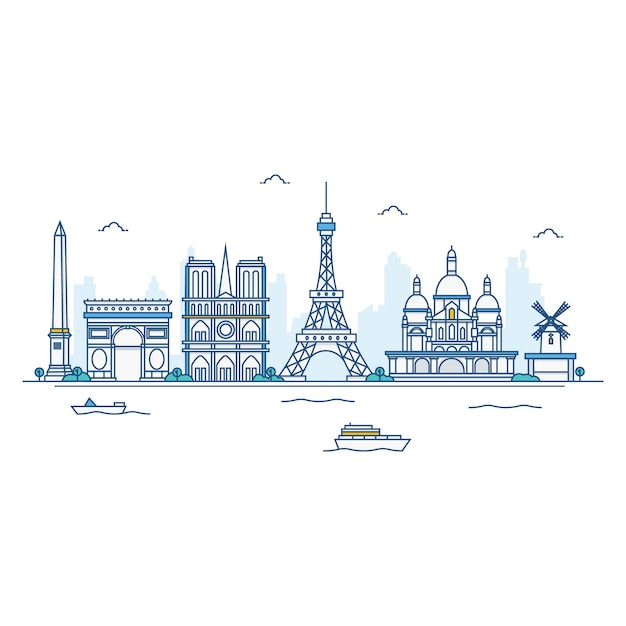 Иллюстрация париж skyline. Premium векторы