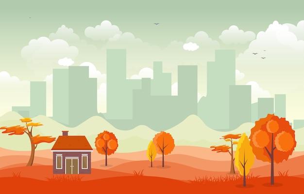 Красивый городской парк осень-осень со зданием skyline иллюстрация Premium векторы