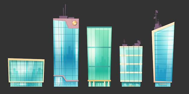 超高層ビルのモダンな家建築セット 無料ベクター