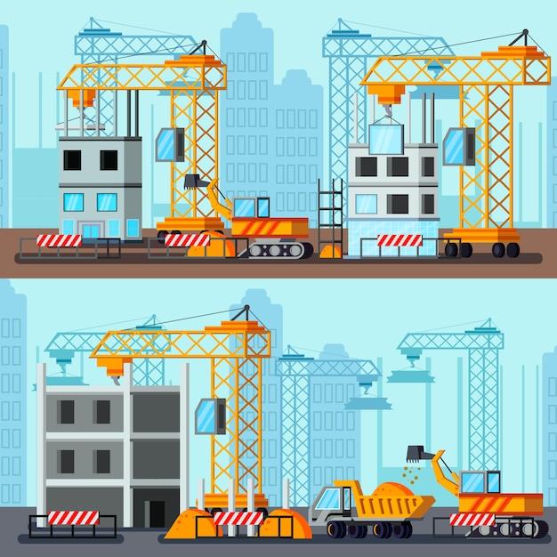 Illustrazioni di costruzione del grattacielo Vettore gratuito