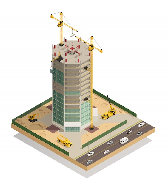 Skyscraper construction isometric composition Free Vector