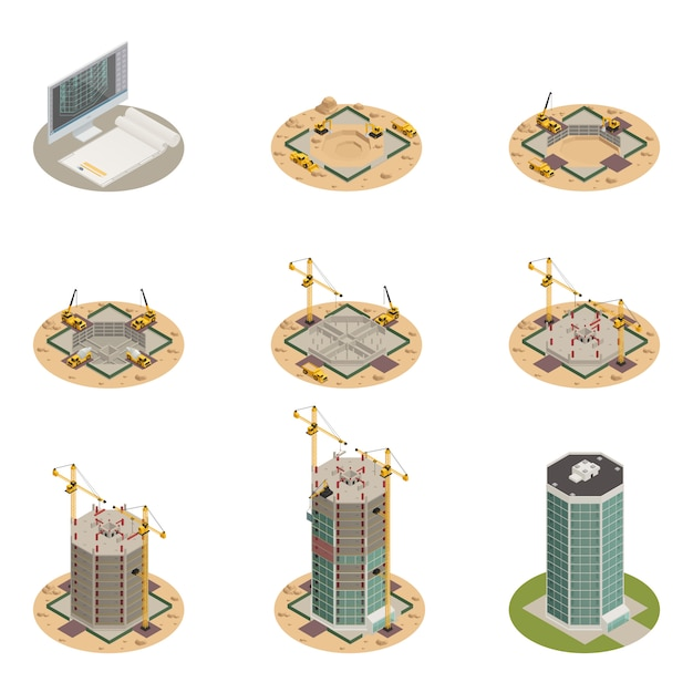 Skyscraper construction isometric set Free Vector