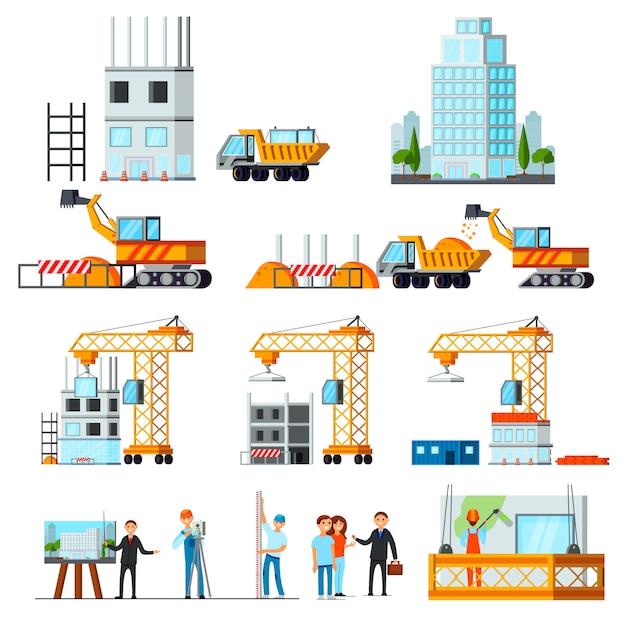 Set di costruzione del grattacielo Vettore gratuito