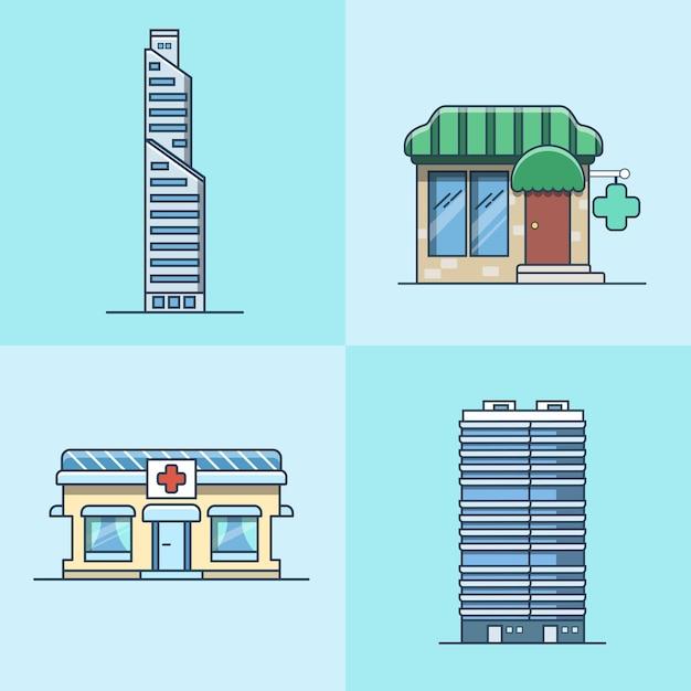 마천루 사무실 비즈니스 센터 약국 병원 건축 건물 세트. 선형 스트로크 개요 평면 스타일 아이콘. 색상 아이콘 모음입니다. 무료 벡터