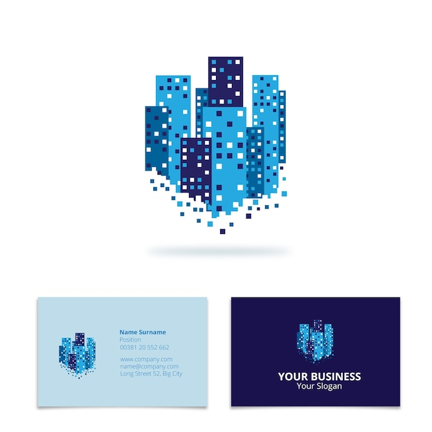 Skyscrapers Business Card Vector Free Download