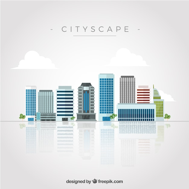 Skyscrapers in flat design Free Vector
