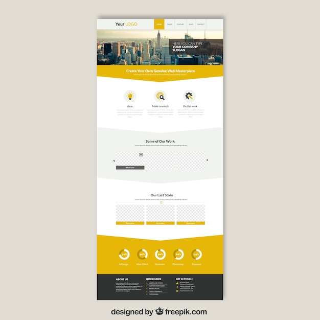 free web design templates - skyscrapers website template vector free download