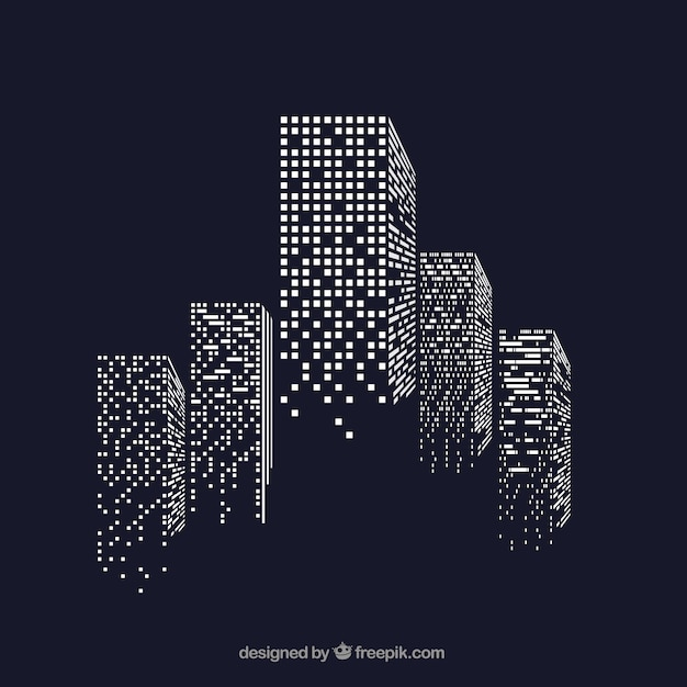 Skyscrapers with illuminated windows Free Vector