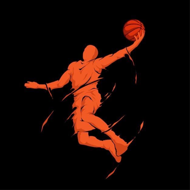 Slam dunk jump splash баскетболист Premium векторы