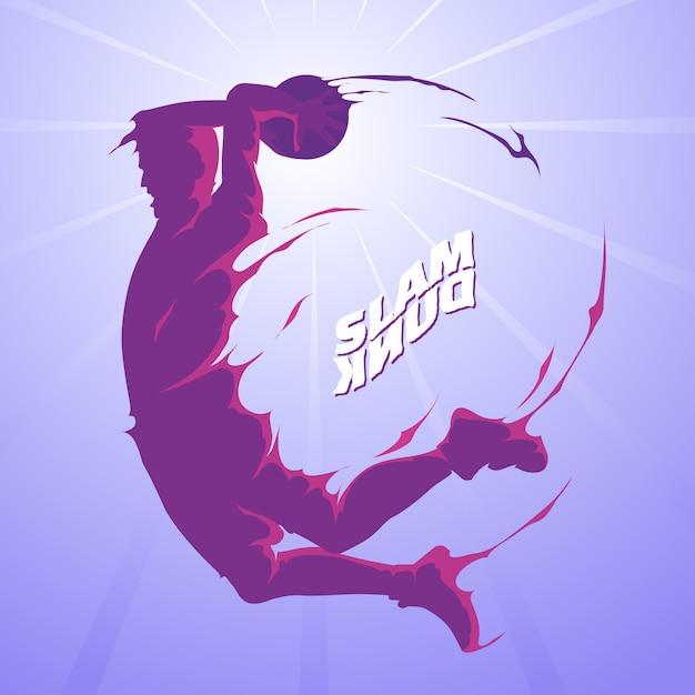 Slam dunk silhouette Premium Vector