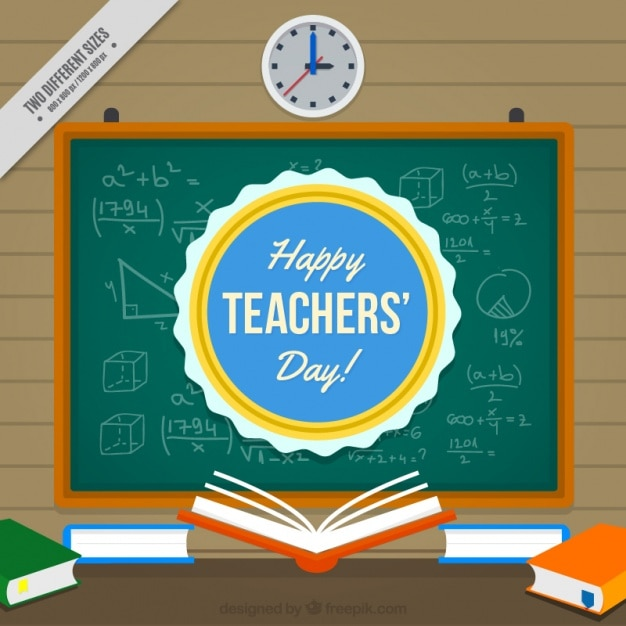 Slate background with books of teacher\'s\ day