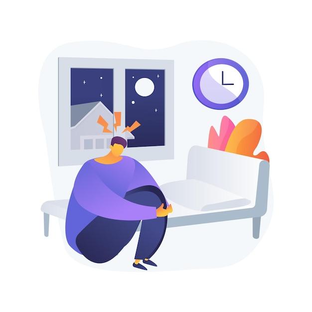 睡眠行動障害の抽象的な概念のベクトル図です。睡眠障害の診断、睡眠行動、rem問題、障害治療、急速な眼球運動、症状の抽象的な比喩。 無料ベクター