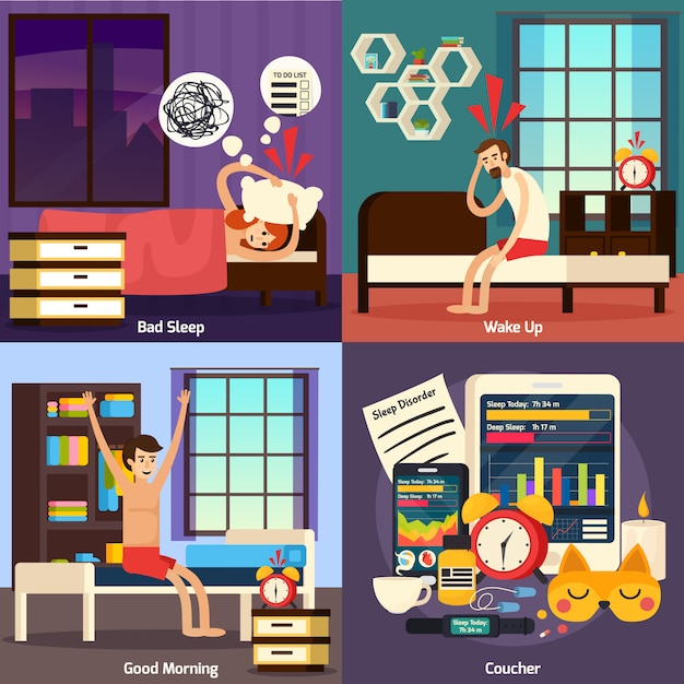 Disturbo del sonno set di composizione ortogonale Vettore gratuito