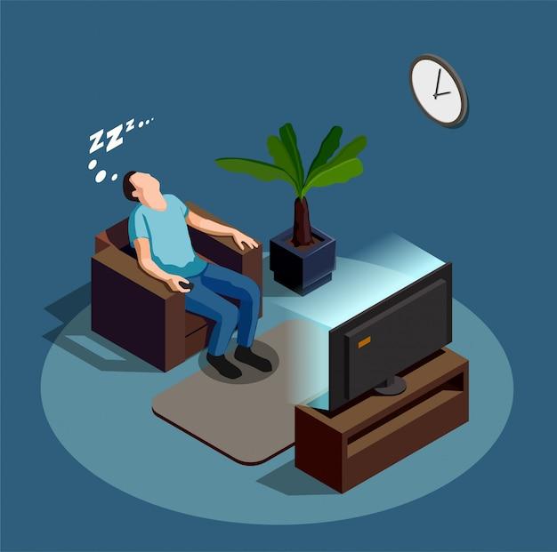 Dormire durante la visione della composizione tv Vettore gratuito