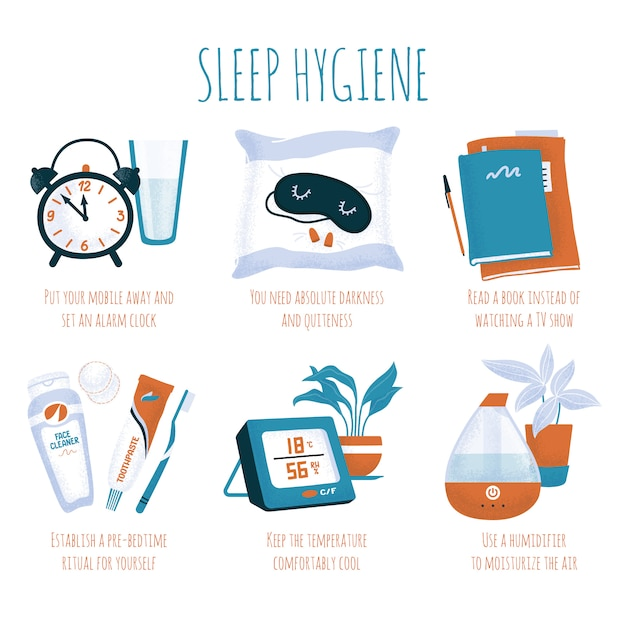 Sleep hygiene tips - alarm clock, glass of water, sleeping mask and ear plugs, book, evening toiletry, air humidifier and digital thermometer Premium Vector