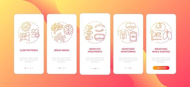 睡眠の問題赤いグラデーションオンボーディングモバイルアプリのページ画面の概念 Premiumベクター