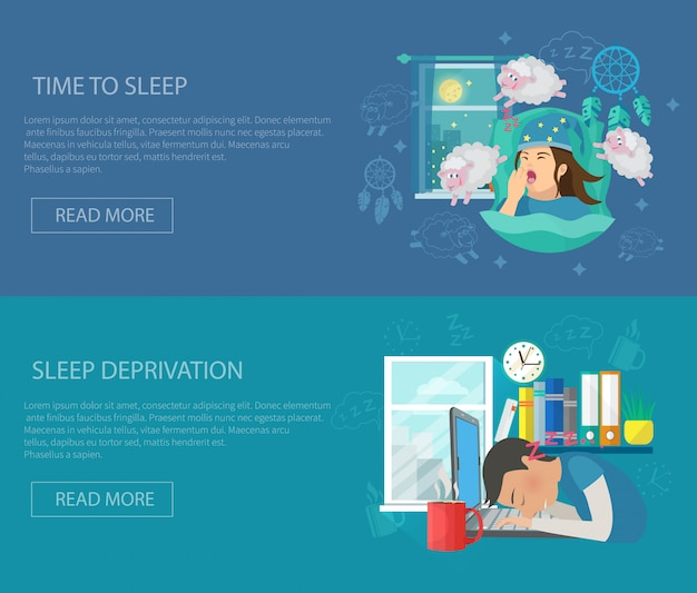 Sleep time banner Free Vector