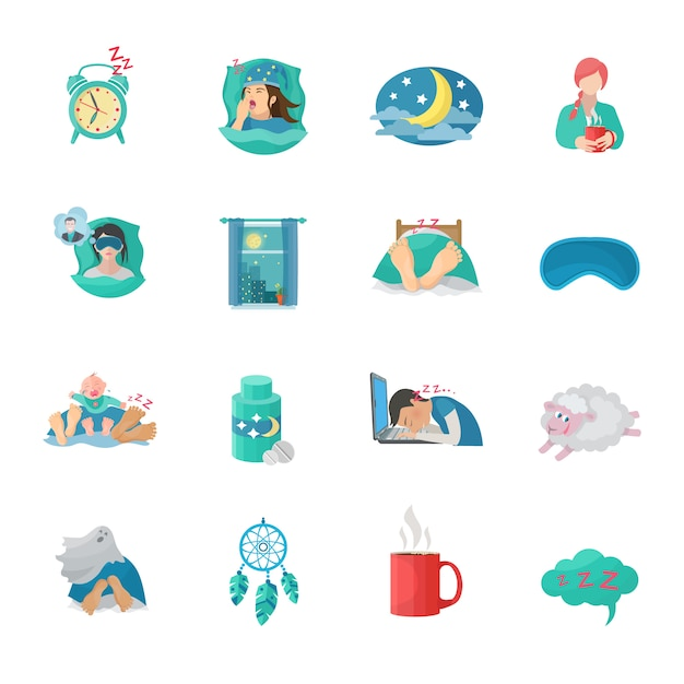 Sleep time flat icons set Free Vector