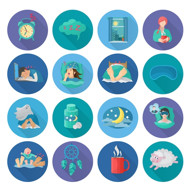 Sleep time flat long shadow icons set Free Vector