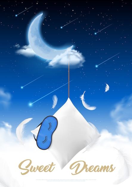 별이 빛나는 하늘 배경 일러스트에서 수면 깃털 베개와 눈 패치 달 밤 현실적인 포스터에서 수면 시간 무료 벡터