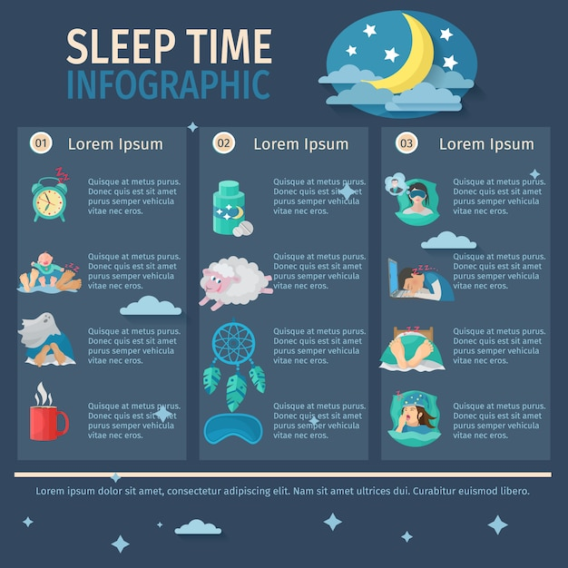 Sleep time infographic set Free Vector