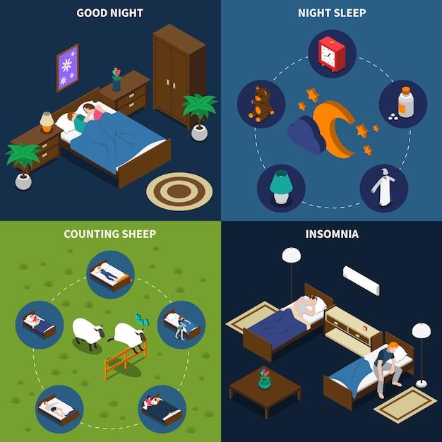Sleep time isometric card pack Free Vector