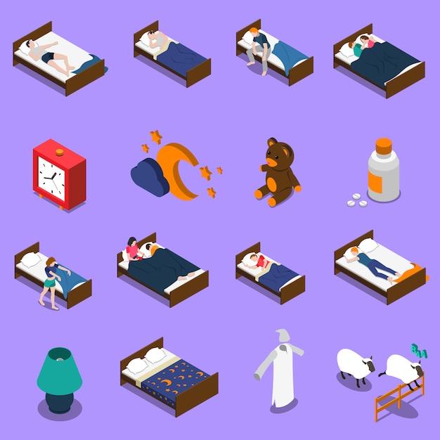Sleep time isometric icons set Free Vector