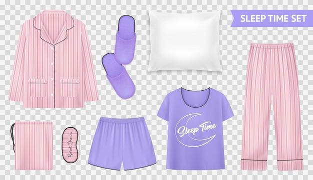 Insieme trasparente di tempo di sonno con stili e accessori di pigiama leggeri e caldi per un'illustrazione di sonno confortevole Vettore gratuito