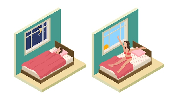 Sleep wake up girl. isometric bedroom. vector girl sleep on bed. good night good morning concept Premium Vector